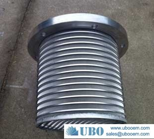 Wedge wrapped wire screen cylinder filter strainer basket for seperation system