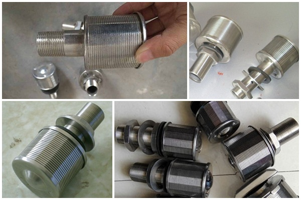 Slot wire wrapped media air sparge filter nozzles