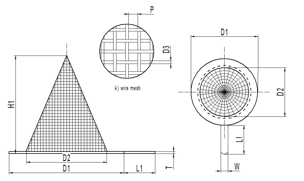Conical strainers in pointed cone shape
