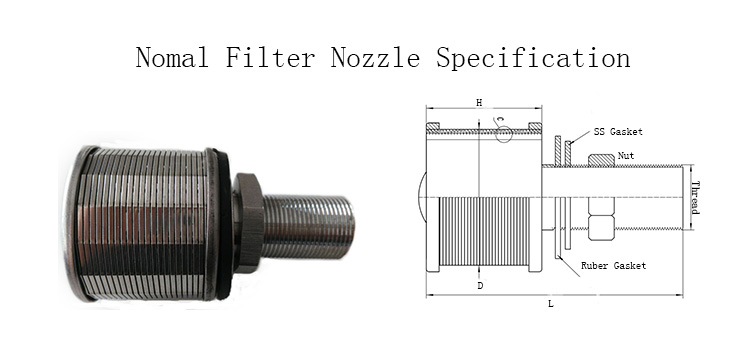 Wedge v wire filter nozzle screen strainer
